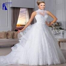 Gorgeous Princess Hi-neck Vestido de noiva Tulle Wedding Dress 2017 See Through Back Wedding gowns robe de mariage bride dresses