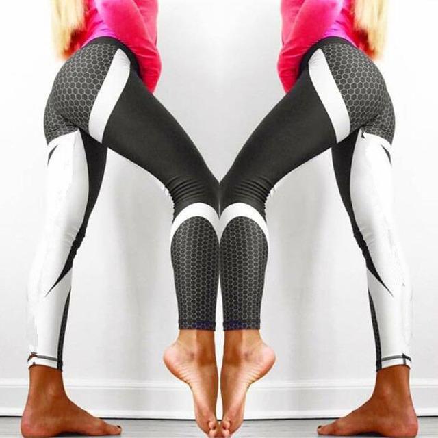 Women Yoga Pants Honeycomb Carbon Leggings Fitness Wear Workout Sports Running  Pants Push Up Gym Elastic Tights Slim Pants