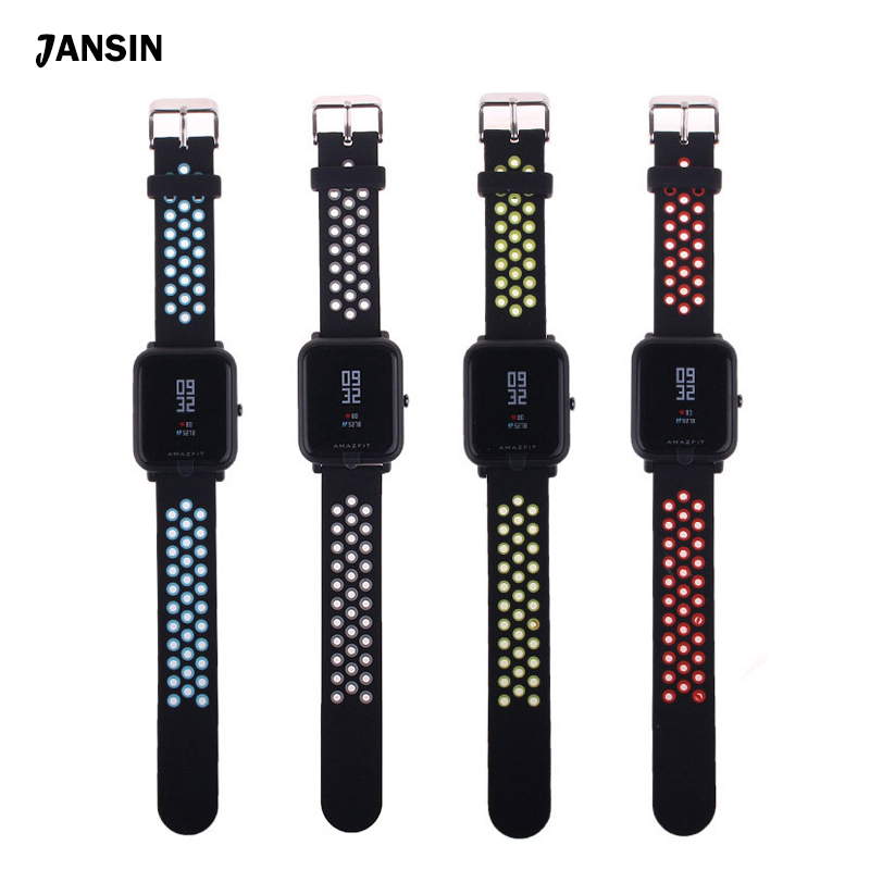 JANSIN Silicone Strap Watchband For Xiaomi Huami Amazfit Bip BIT PACE Lite Youth Smart Watch Replace Strap Bracelet wristbands jansin 22mm watchband for garmin fenix 5 easy fit silicone replacement band sports silicone wristband for forerunner 935 gps