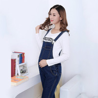 Maternity Women Jeans Denim Jumpsuits Casual Rompers Adjustable Waist Bib Pants Pregnant Warm Fleece Slim Leg Trousers