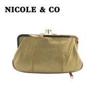 NICOLE & CO кошелек из натуральной кожи для монет, кошелек из овечьей кожи, металлический закрывающийся замок, держатель для карт, кошелек на мол...