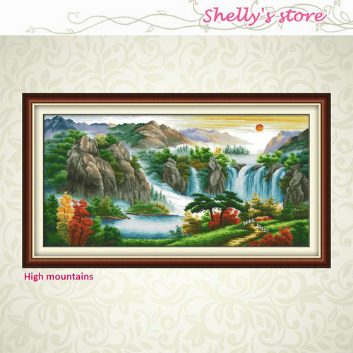 High mountains river sun mascot Pattern Stamped or Counted DIY Cross Stitch Kits for Embroidery Needlework Gift 11CT 14CT sale