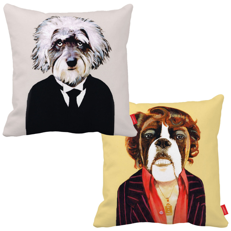Funny Einstein Schnauzer Elvis Bulldog Dog Print Car Decorative Throw Pillowcase Pillow Case Cushion Cover Sofa Home Decor