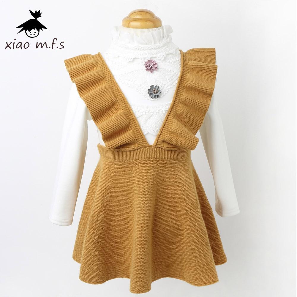 Outono inverno criança roupas meninas vestido Camisola de Malha Crianças vestidos para a menina vestido de Malha + camisa de veludo 2 pcs roupas conjunto