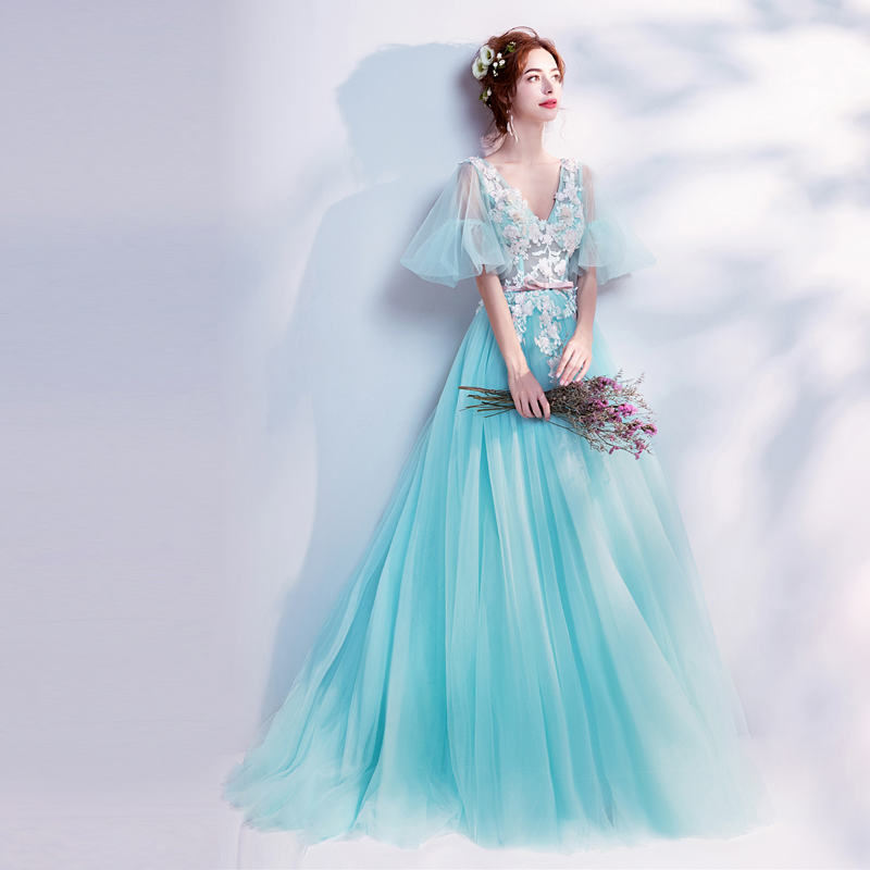 32278ed66f652 Walk Beside You Mint Green Prom Dresses Girls V-neck Half Sleeves Lace  Applique Sweep Train Evening Gowns Vestido De Graduacion