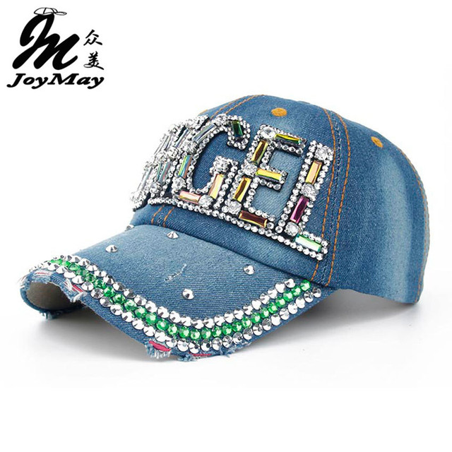 Joymay 2016 New Colorful Bling ANGEL Diamante Jean Denim Baseball Cap Men Adjustable Snapback Caps Women Casual Outdoor B268