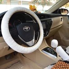 KKYSYELVA Car steering wheel cover Winter Handbrake Gear Shift Cover Plush Auto Steering wheels Interior Accessories