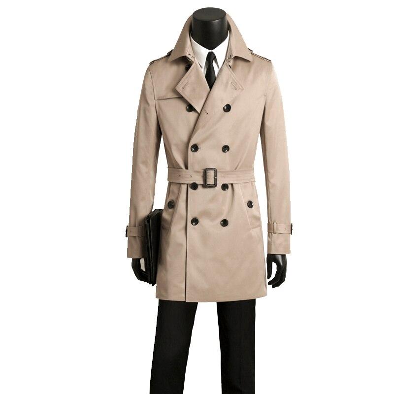 Мужские длинные тренчи, Мужская двубортная одежда, мужской Тренч, весна и осень размера плюс, Повседневная приталенная одежда цвета хаки - 4