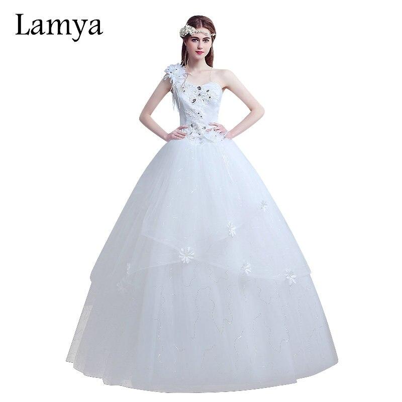 ̿̿̿(•̪ )Lamya más tamaño un hombro flor vestido de boda de la ...