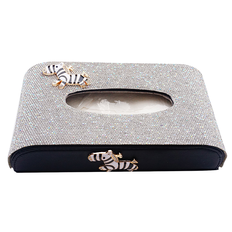 Boîte de mouchoirs de voiture de cristaux de luxe créatifs avec zèbre mignon belle boîte de papier d'ornement pour les femmes cadeau