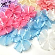 HANLV 35MM 10PCS  Ribbon Flowers DIY Appliques Handmade Wedding Decoration Crafts Apparel Accessories