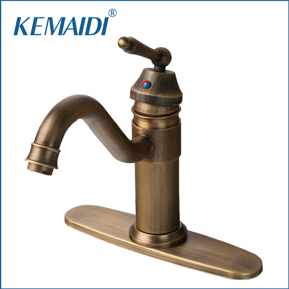 KEMAIDI Luxury Antique Brass Bathroom Sink Faucet Single Handle Swivel Spout Waterfall Mixer Tap With cover plate chrome brass bathroom waterfall spout bathroom sink faucet single handle mixer tap with cover plate contemporary style