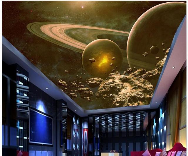 a2d2b3421 3d خلفيات الصورة غير المنسوجة جدارية مخصصة الكون الفضاء كوكب 3d جداريات  خلفيات سقف غرفة الديكور
