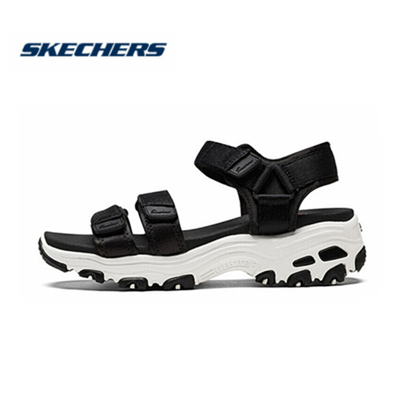 Skechers D'lites Sandals Women Platform Sandals Ladies Med Heel Wedges Walk Shoes Summer Beach Shoes Fashion 31514-BLK
