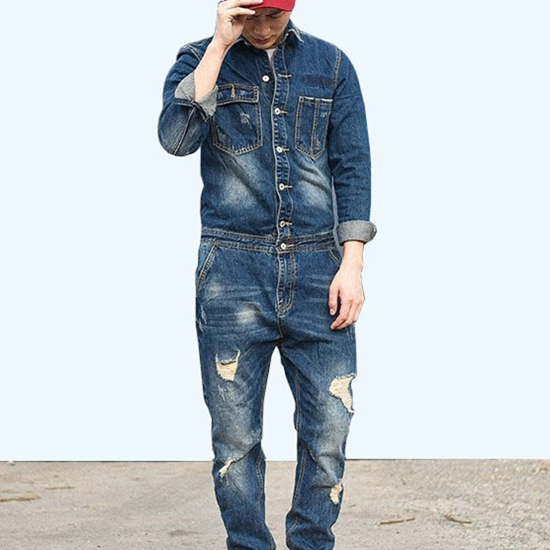 Autumn Retro One Piece Classic Denim Jumpsuit Long Sleeve Cargo Overalls Single Breasted Hole Ripped Jeans Trousers Pockets Pant
