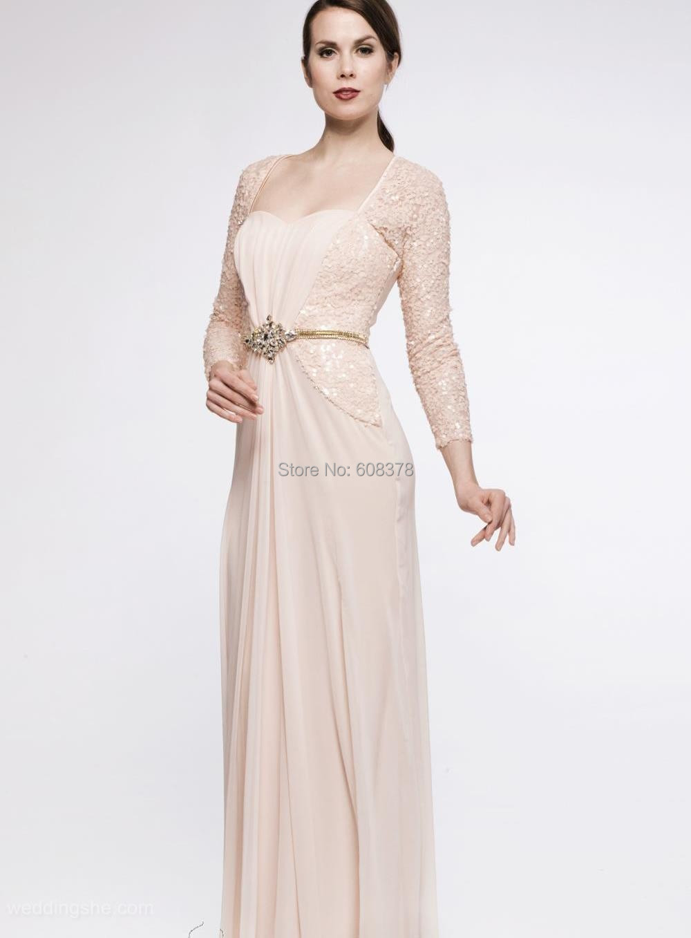 2015 chic boutique floor length chiffon sequin mother of for Wedding dresses for grandmother of the bride