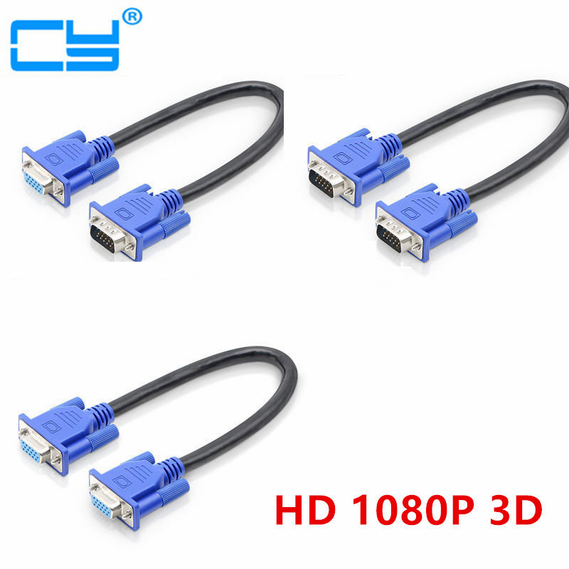 30cm HD15Pin VGA D-Sub Short Video Cable Cord Male to Male M/M Male to Female and Female to Female for Monitor PC 1 to 2 vga male to female extension cable w dual magnetic ring for projector white blue 30cm