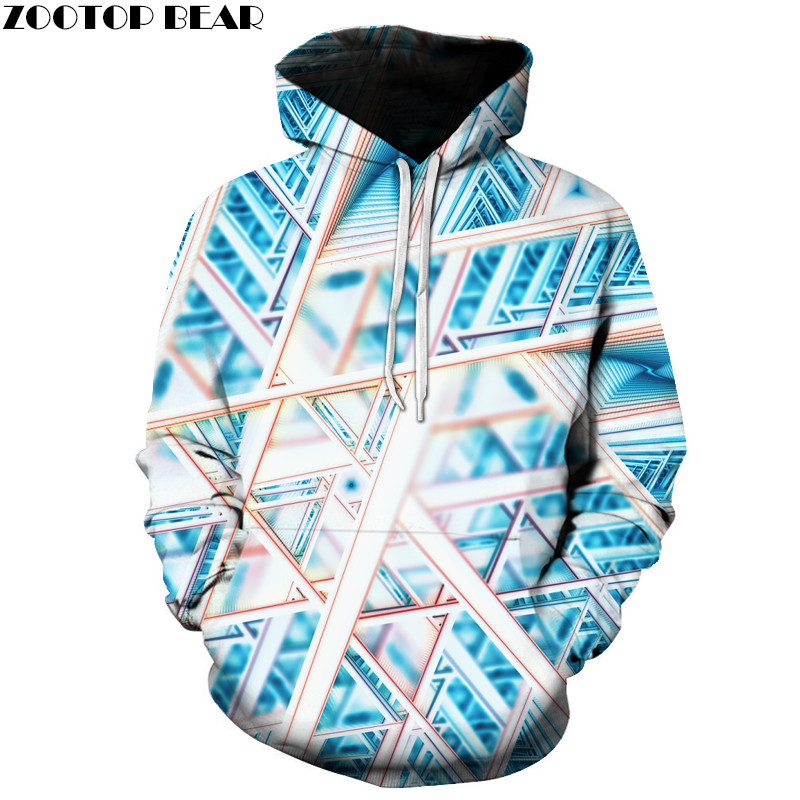 Fashion 3d Hooded sweatshirt Colorful triangle combination print Men/Women Space Galaxy pullover Hoodies Sweatshirts Asian size
