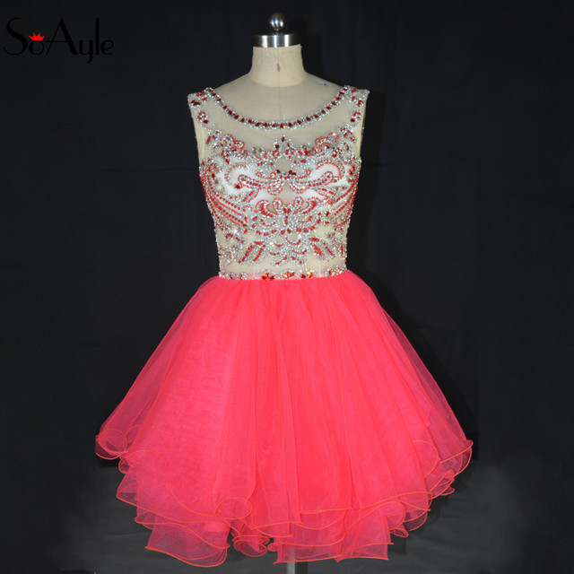 SoAyle 2018 Homecoming Dresses Peach Beading Crystals Party Gowns Illusion  Style for Girl s Graduate Dresses Mini Short Dress 3036c479bcee