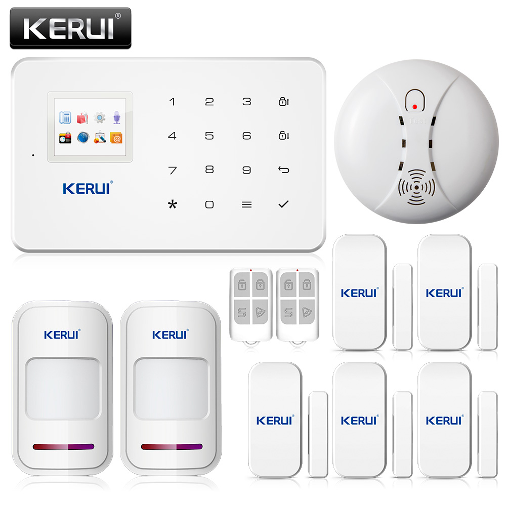 Phone APP control KERUI G18 Wireless Anti-theft Security alarm system PIR sensor+Door sensor+Remote control+fire smoke detector