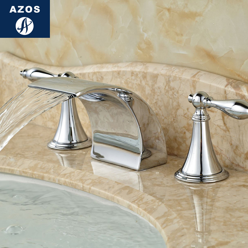 Azos Split FaucetWaterfall Waterfall Brass Chrome Cold and Hot Switch Kitchen Below Counter Basin Hotel Double Handle Three Hol