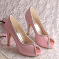 Wedopus MW1348 Pink Satin Wedding Shoes High Heel Ladies Peep Toe Heels