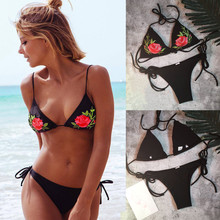 6dcc2b4c3 feitong summer 2018 Women Sexy Bikini Floral Embroidery Push-Up Padded  Swimwear