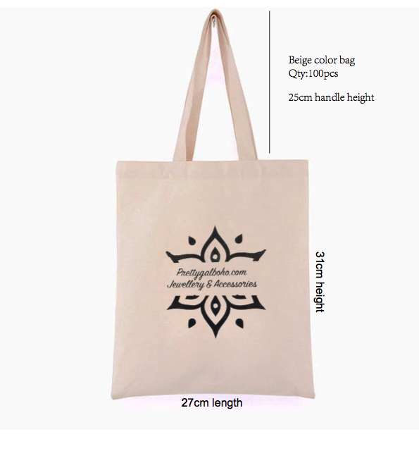 100Pcs 27Cm*31Cm Height Canvas Cotton Tote Bag Customized Logo Eco Company Advertising University Activity