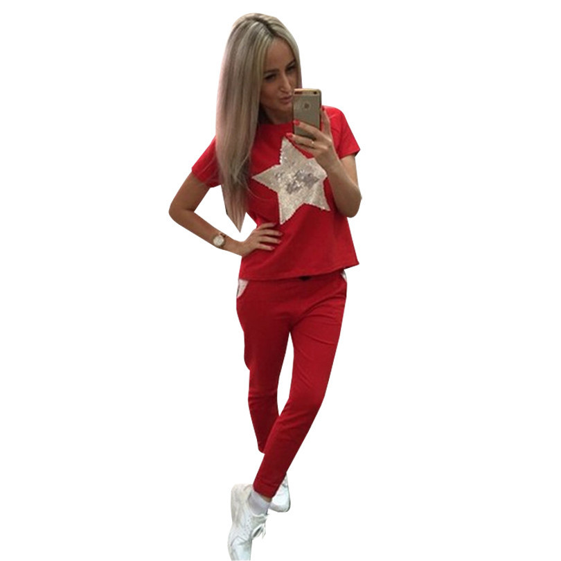 Tapakva Summer Women casual suits short sleeve t-shirt and pant 2-piece set
