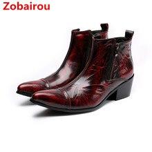 Zobairou/chaussure homme; итальянские ботинки; Мужская зимняя обувь в классическом стиле; военные ботинки; цвет винный, красный; водонепроницаемые ботинки; botas hombre