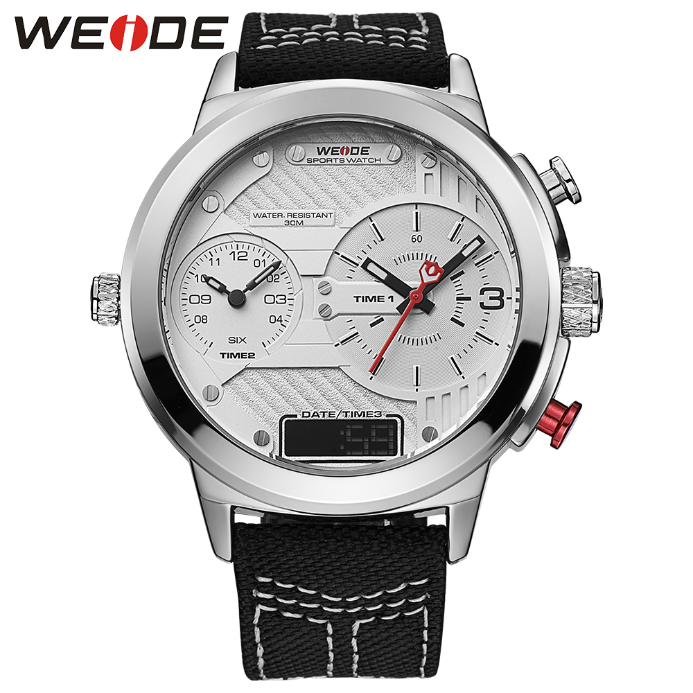WEIDE luxury brand genuin nylon white round big dial watch quartz men sport watchwater resistant clock watch relogios masculinos weide high quality watch men luxury brand big dial 3atm water resistant stainless steel back lcd wristwatches with alarm items