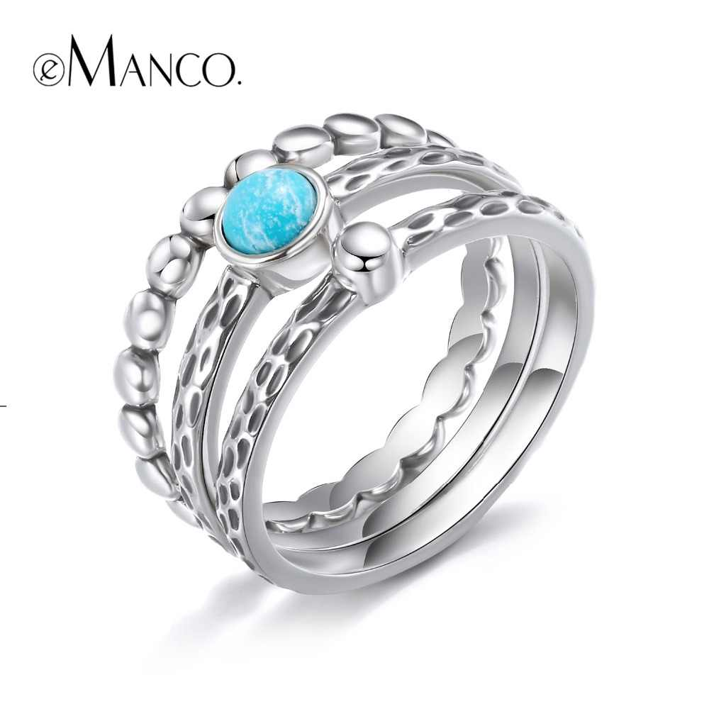 e-Manco 925 Sterling Silver Bead Rings Blue turquoise Leopard Rings Wholesale Elegant Wedding&Engagement Gifts New