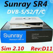 3 unids sunray sr4 800hd sim 2.10 d11 versión triple tuner DVB-S ( S2 ) / T / C con 300 mbps wifi sunray4 800 receptor de satélite en sí