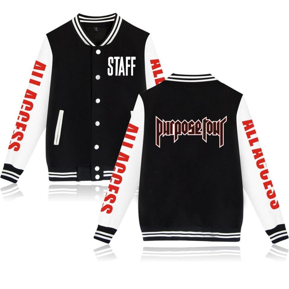 Justin Bieber STAFF jackets New Style Baseball Jacket coat  Kpop sweatshirt hoodies For Uniform women/men plus size clothes 4XL