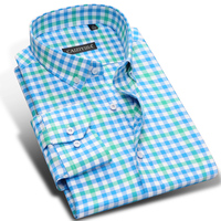 Double Color Cotton Plaid Men Casual Shirts Brand Fashion Long Sleeve Male Formal Business Party Dress