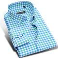 Dobro da Cor da Manta de Algodão camisas Dos Homens Camisas Casuais Marca de Moda Vestido de Festa de Manga Longa Masculina de Negócios Formal Camisa Plus Size 4XL
