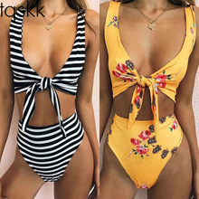 055d62f172 TQSKK 2019 High Waist Swimsuit Women Female Swimwear Retro Bandeau Print  Bottom