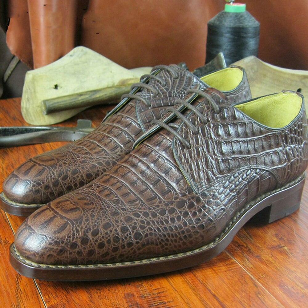 Luxury goodyear crocodile shoes mens elegant brown grooms ...