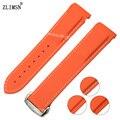 Zlimsn 22mm new orange pulseiras de borracha diver strap banda com implantação fecho para o planeta-oceano substituição ome15