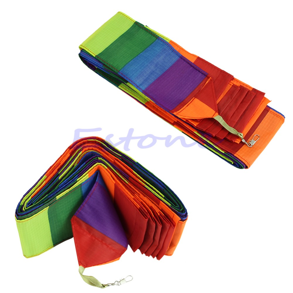 New 10M Super Nylon Rainbow Kite Tail Line Outdoor Fun Sports Kite Accessory Kids Gift