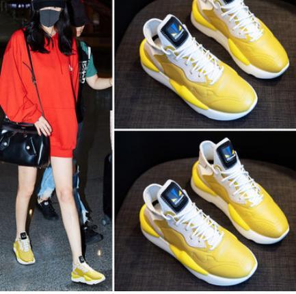 Chaussures Noir Version Épais Nouvelle Coréenne 2018 Net Avec De Femme Vieux jaune Fond Rouge xHPUU7