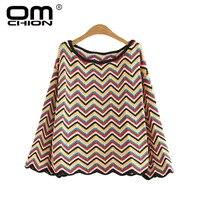 OMCHION Pull Femme Korean O Neck Harajuku Sweater Women 2018 Autumn Loose Retro Waves Strip Pullover Casual Knit Jumper LMM193