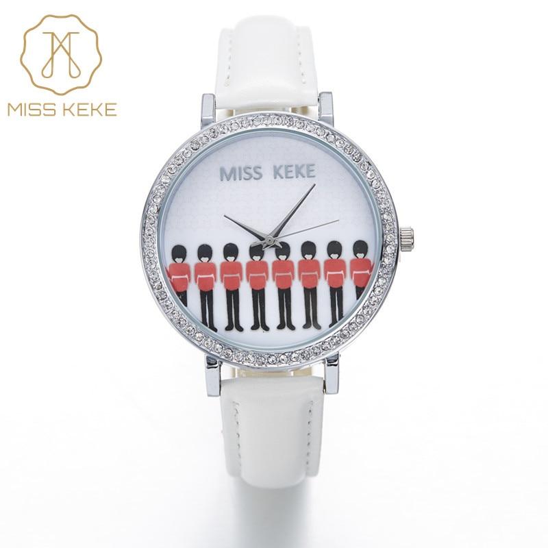 Fröken Keke 3d Clay Ryssland Den Röda Guards Kvinnan Rhinestone Korea Klockor Relogio Feminino Kvinnor Kvarts Läder Armbandsur 1331