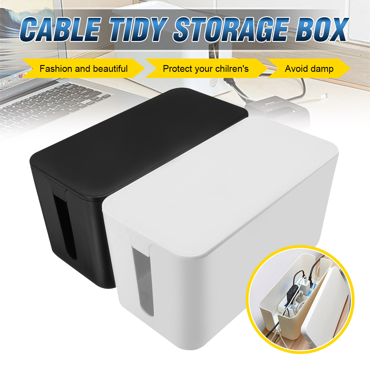 Tidy-Storage-Box Cable Power-Switch Cover-Design Easy-To-Heat White Dust-Safety PP Emission