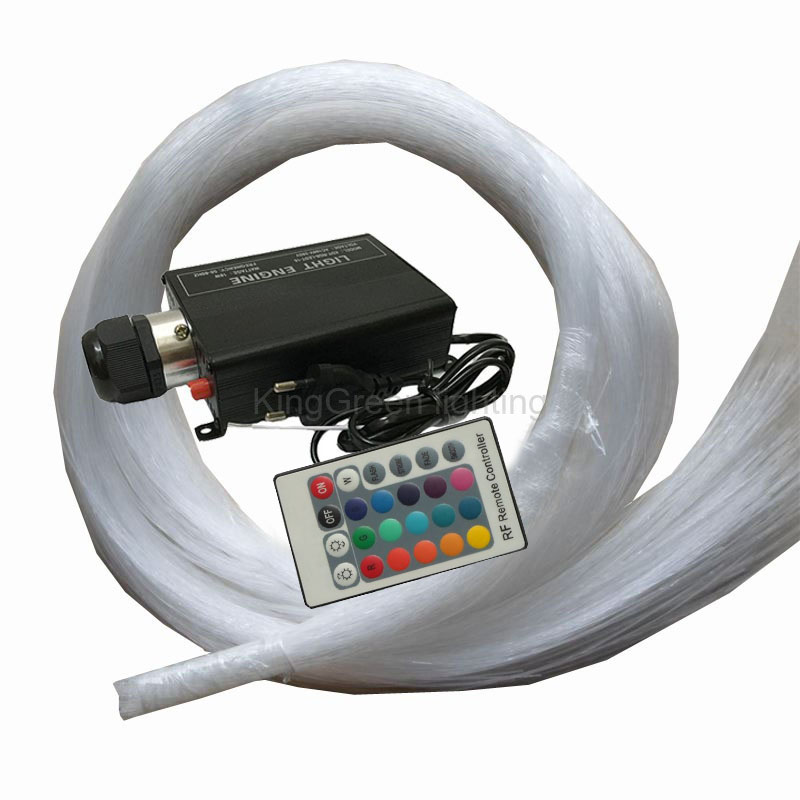 RGB LED 16W fiber optic light engine + 24key IR remote controller + 500PCS 0.75mm 2m end glow PMMA fiber optic cable 27w led rgb fiber optic illuminator with 24key ir remote and shooting star wheel ac100 240v input