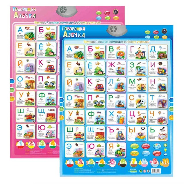 Russian Language Electronic Baby ABC Alphabet Sound Poster Infant Kids Present Gift Early Learning Education Phonetic