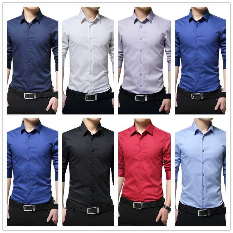 BROWON ブランド男性ドレスシャツシルケット綿無地スリムフィット長袖シルクシャツスムーズメンズシャツビッグサイズ s-5XL