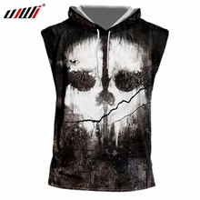 ad44b718fe6f7 UJWI Man Fashion Black And White Mask Hooded Tank Top Men s Personality  Oversized Tee Shirt 3D Printed Double-sided Skull