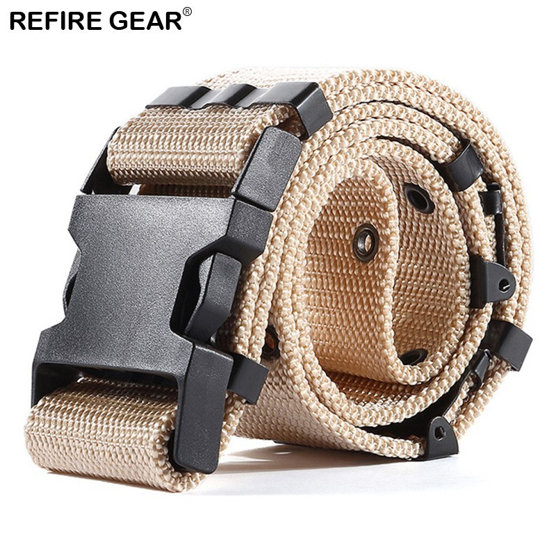 Capable Refire Gear Outdoor Sport Thick Adjuster Buckle Tactical Nylon Belt Casual Fastness Buttonhole Waist Belt Survival Army Belts
