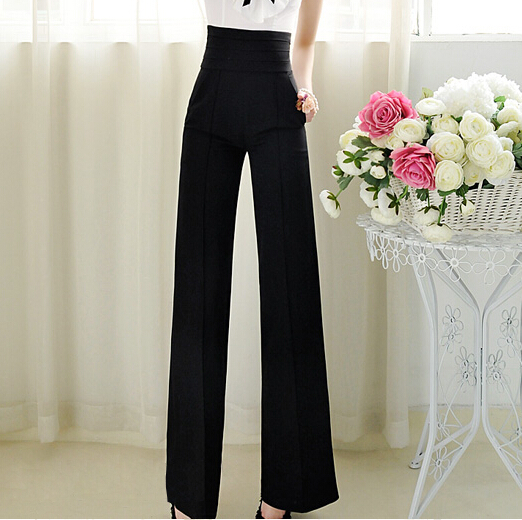 New Brand 2017 Women Casual Office Lady   Pants   Ladies High Waist Black Color Slim   Wide     Leg     Pants   Womens Trousers S-XXL